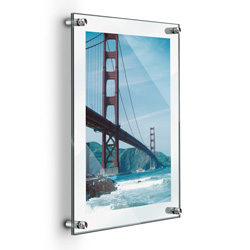 "11"" x 17"" Deluxe Acrylic Standoff Wall Frame, Clear"