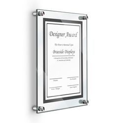 "8.5"" x 11"" Deluxe Acrylic Standoff Wall Frame, Clear"